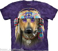Groovy Peace Dog Shirt, Mountain Brand, In Stock, Hippie,novelty tee, sm - 5X