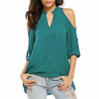 Floral Solid New Womens Pullover V Neck Blouse Short Sleeve O Neck T-Shirt