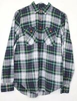 J Crew Check Shirt Long Sleeves Green mix T Blogger Fashion Collar Soft Size 8