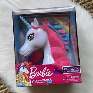 New Barbie Dreamtopia 11 Piece Unicorn Styling Head Pink Hair Brush Barrettes