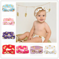 Baby Girl Kids Toddler Knot Metallic Polka Dot Rabbit Headband  Cotton Hairband