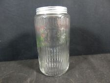 VINTAGE HOOSIER CABINET RIBBED GLASS COFFEE JAR/CANISTER W/ALUMINUM LID