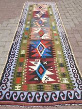 "Vintage Turkish Kilim Runner,Colorfull Runner, Carpet 32,2""x96,8""  Area Rug"