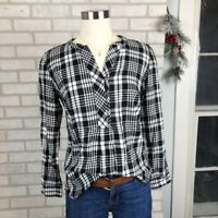 Talbots Trendy Plaid Checkered Pop Over Blouse Casual Trendy Top Size Small S