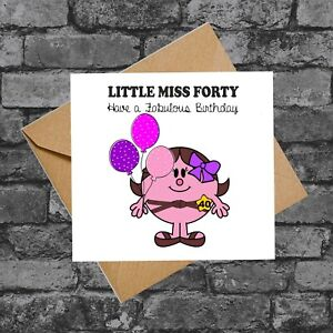 C264 LITTLE MISS FORTY FUNNY CHEEKY RUDE 40TH BIRTHDAY CARD