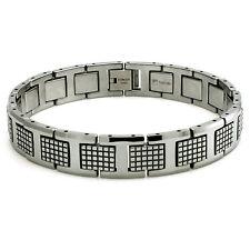 "Tungsten Carbide Checkered Link High Polish Mens Biker Bracelet 8.5"""