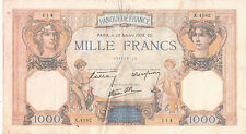Billet banque 1000 Frs CERES ET MERCURE 20-10-1938 CS X.4182 état voir scan déch