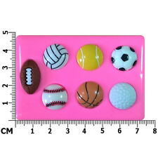 Sports Balls Football Soccer Rugby Tennis Gol Silicone Mould by Fairie Blessings