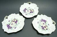 "VINTAGE 1950s DESERT PLATES 3 PC 5"" PORCELAIN LEAF SHAPE PANSY PATTERN JAPAN"