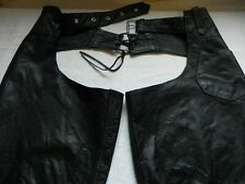 Protech Leather Apparel XXL Biker Chaps Black Side Zippers Waist Belt Back Laces