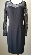 Womens C. Luce Dress Sheath Black Lined Lace Sleeves and Bodice Size M