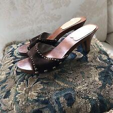 Vintage Brown Suede Sandals Kitten Open Toe Sandal Heels Sz 6.5