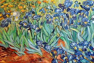 Blue Iris Van Gogh Oil Painting Flowers Repro Hand Painted 24X36 In.   STRETCHED