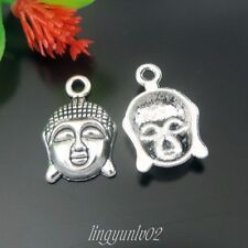 40X Vintage Silver Alloy Cute Buddha Head Pendant Charms Jewelry Findings 39566
