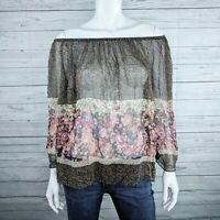 NWT Fei Anthropologie Brown Silk Floral Off-The-Shoulder Blouse Women's Sz. M
