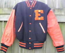 VTG 1960 State Champion Varsity Wool Letter Patch Leather Jacket Orange Black