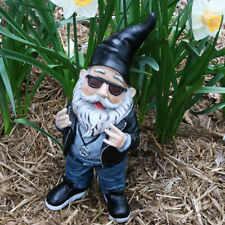 "Sunnydaze Randy The Rebel Biker Gnome Outdoor Garden Statue & Lawn Ornament -14"""