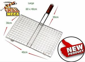 MEGA GRILL Commercial Quality BBQ Barbecue Burger Meat Steak Fish Grill Basket