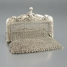 Antique French Sterling Silver Mesh Purse, Two Compartments, Griffon, Lion
