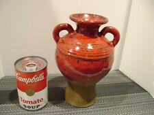 "Southern Living At Home Tuscan Olive Jar Vase Red with Sandstone Base 8"""
