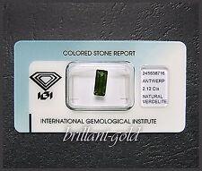 Unbehandelter Verdelith: Baguette-Schliff: 2,12ct / dunkelgrün + IGI-Zertifikat!