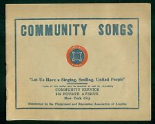1920's Playground and Recreation Assoc. of America Teddy Roosevelt Song Booklet
