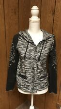 Miss Me Embellished Gray Silver Sweater Hoodie Womens Jacket size S Small