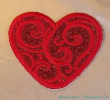 Embroidered Scarlet Red Glitter Sparkle Swirl Heart Love Applique Patch Iron On