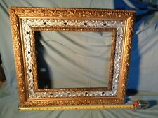 """Large ANTIQUE Frame ORNATE GESSO on WOOD gold silver brown 20"""" x 16"""" 5.5"""" wide"""