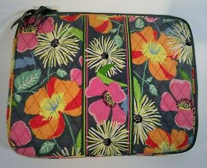 Vera Bradley Zazzy Blooms Retired Laptop Sleeve Bag Case  Double Zip Close  EUC