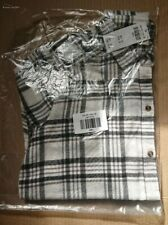 BNWT Hollister Women's Long Sleeved Plaid Flannel Shirt White Grey Check Small