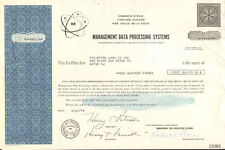 Management Data Processing Systems > 1960s 1970s New Jersey stock certificate