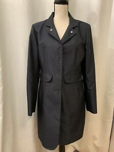 Cinzia Rocca Womens Black Long Trench Coat Overcoat Snap Front Size 10