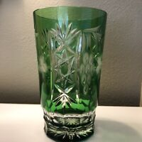 AJKA Marsala Emerald Cut to Clear Tom Collins Glass Tumbler Überfang Technique