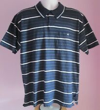 VTG Mens TOMMY HILFIGER Navy Striped Collared Polo Short Sleeve Shirt Size Large