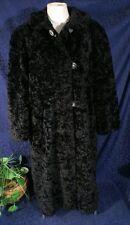 """Vintage 40s ALASKAN KURL 45"""" Black Mohair Faux Persian Lamb Coat Size Medium"""