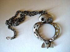 Vintage LARGE Owl Pendant Necklace Multi-Link Chunky Chain Antiqued Silver Tone