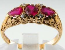 DIVINE 9K 9CT GOLD INDIAN RUBY & DIAMOND TEARDROP PEAR ART DECO INS RING