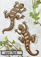 2er Set Metall Gecko Gartendeko Gartenfigur Wandschmuck Eidechse Salamander Deko