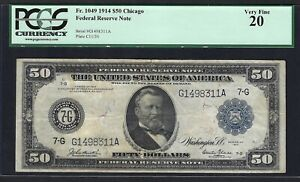 """1914 $50 FRN """"CHICAGO""""   ♚♚BURKE&GLASS♚♚ PCGS VF 20    ONLY 93 KNOWN!!!"""