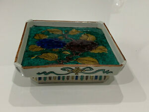 Antique Japanese Signed Fuku Ko Kutani Porcelain Square Dish Tray w/ Floral Dec