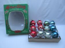 Vintage glass Christmas tree baubles decorations in Miro Star box