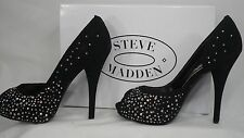 Steve Madden 'Lannaa' Black Suede w/Rhinestones Peep-Toe Dress Pump Women Size 9