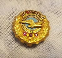 VINTAGE14K GOLD ◇ 3 RUBIES 15 YEARS PRATT & WHITNEY USA ◇ DEPENDABLE ENGINES PIN