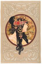 "NEW ALPHONSE MUCHA BYZANTINE BRUNETTE FULLY LINED 36"" TAPESTRY WALL HANGING 6004"