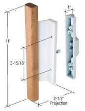"Sliding Glass Patio Door Handle, Mortise Style, 3-15/16"" Screw Holes, Wood/White"