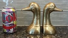 """Vintage BRASS Duck Bookends Pair  by Terry Bear of Korea - 6"""" High"""