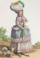 Art Print Dressmaker Dress Hat Fashion Plate Caraco Polonaise Panniers Bustle