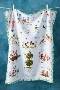 Anthropologie Inslee Fariss 12 Days of Christmas Menagerie Dish Towel Animals