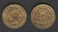 1862 Spanish Philippine 1 Peso Reyna ISABEL II Filipinas GOLD Coin Ex Jewelry